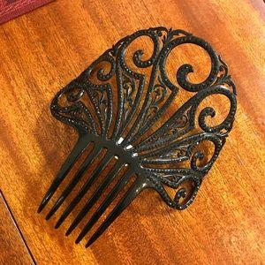 👑HUGE Black Rhinestone Swirling 1930's Headcrown
